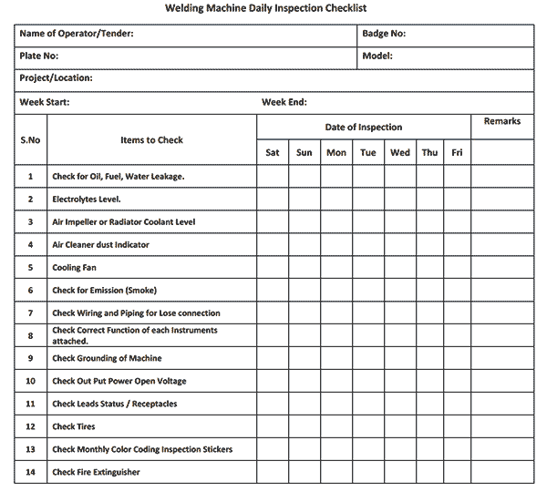 welding inspection report